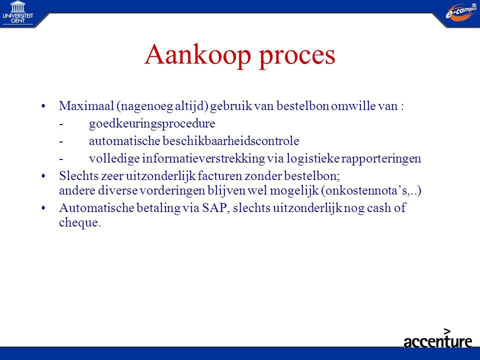 Aankoop proces Maximaal (nagenoeg altijd) gebruik van bestelbon omwille van : - goedkeuringsprocedure.