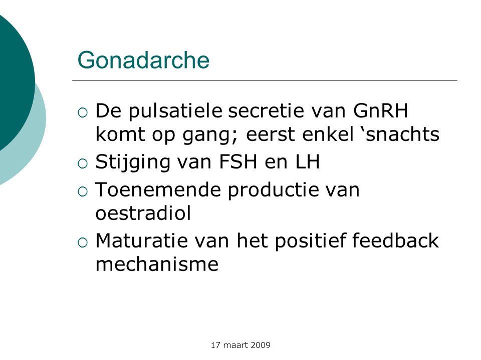 Gonadarche De pulsatiele secretie van GnRH komt op gang; eerst enkel 'snachts. Stijging van FSH en LH.
