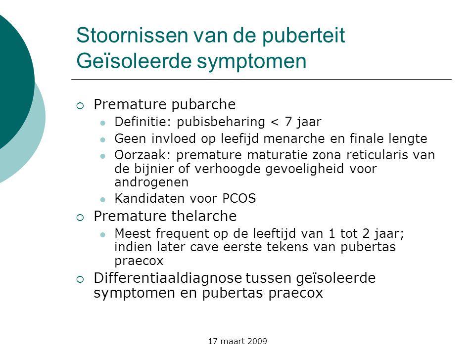 Stoornissen van de puberteit Geïsoleerde symptomen