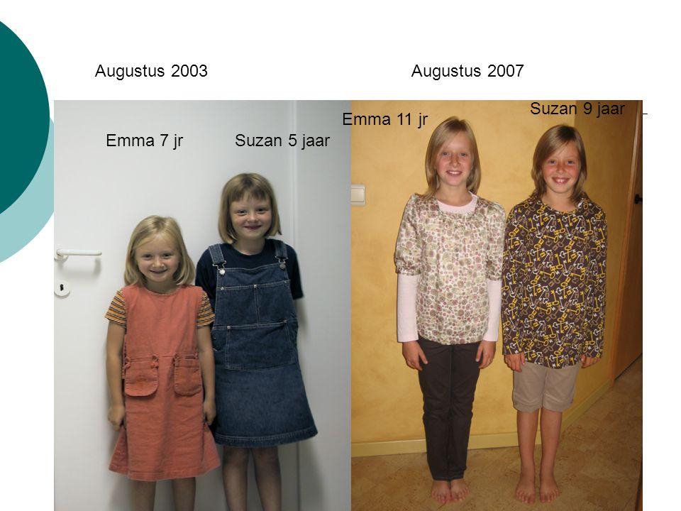 Augustus 2003 Augustus 2007 Suzan 9 jaar Emma 11 jr Emma 7 jr