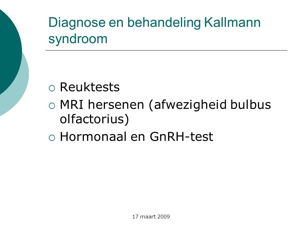 Diagnose en behandeling Kallmann syndroom