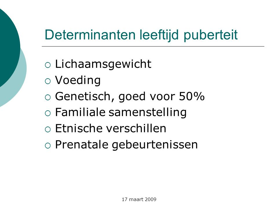 Determinanten leeftijd puberteit