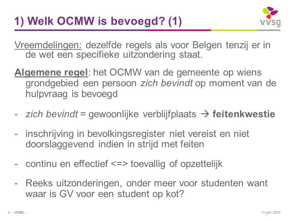 1) Welk OCMW is bevoegd (1)