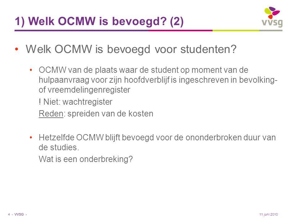 1) Welk OCMW is bevoegd (2)