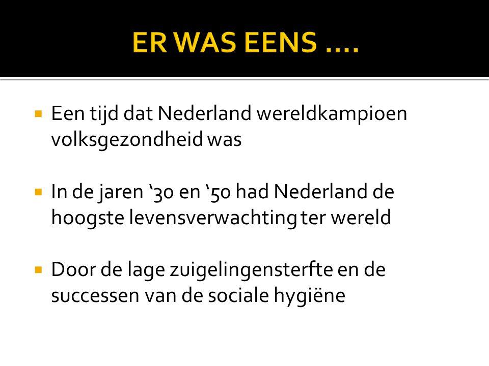 ER WAS EENS …. Een tijd dat Nederland wereldkampioen volksgezondheid was.