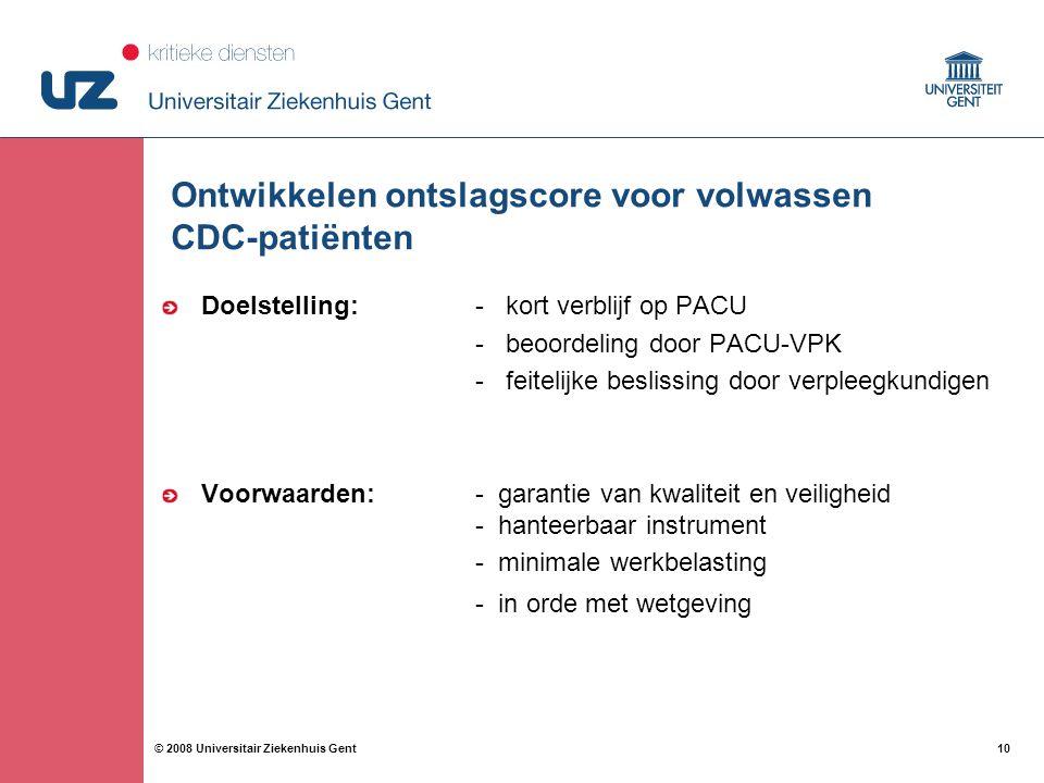 Ontwikkelen ontslagscore voor volwassen CDC-patiënten