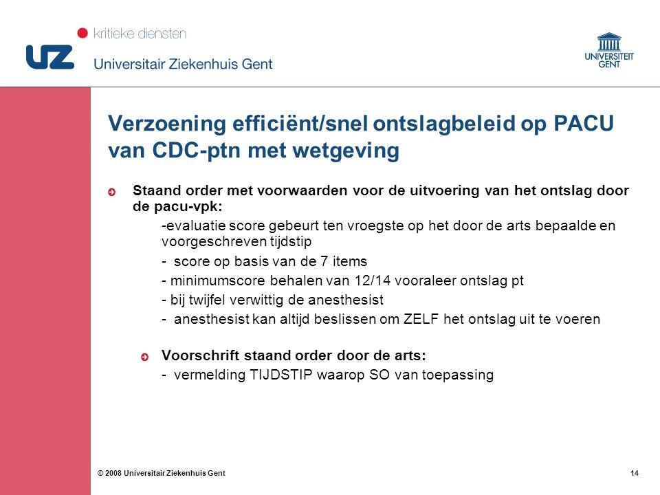 Verzoening efficiënt/snel ontslagbeleid op PACU van CDC-ptn met wetgeving