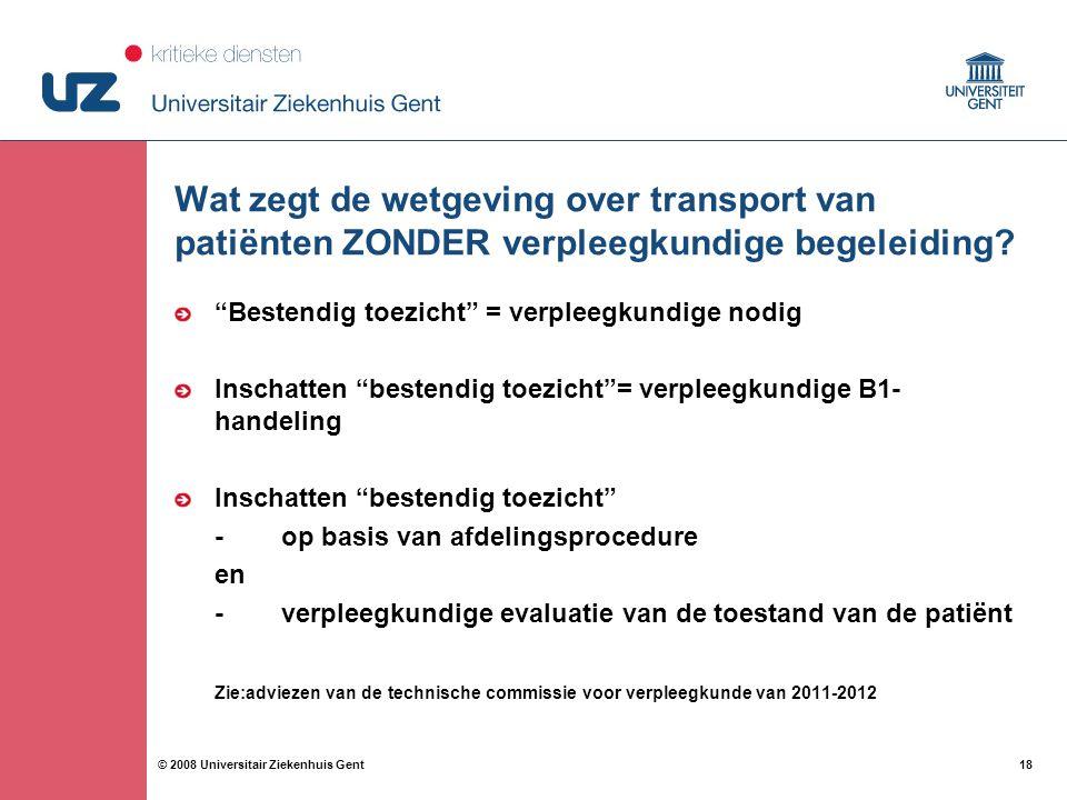 Wat zegt de wetgeving over transport van patiënten ZONDER verpleegkundige begeleiding