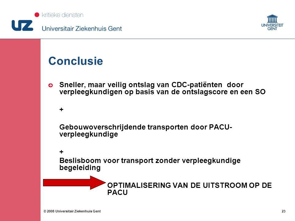 Conclusie Sneller, maar veilig ontslag van CDC-patiënten door verpleegkundigen op basis van de ontslagscore en een SO.