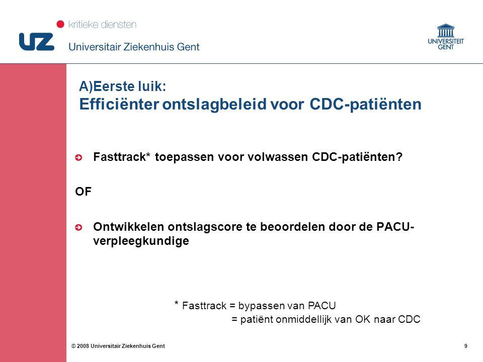A)Eerste luik: Efficiënter ontslagbeleid voor CDC-patiënten