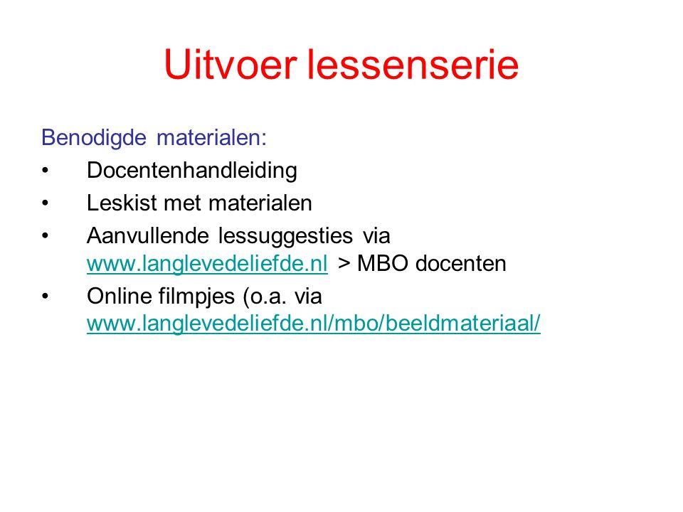 Uitvoer lessenserie Benodigde materialen: Docentenhandleiding