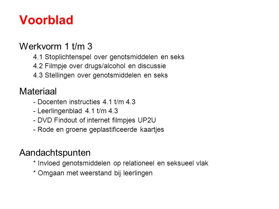 Voorblad Werkvorm 1 t/m 3 Materiaal Aandachtspunten