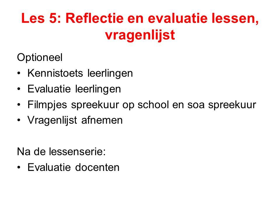 Les 5: Reflectie en evaluatie lessen, vragenlijst