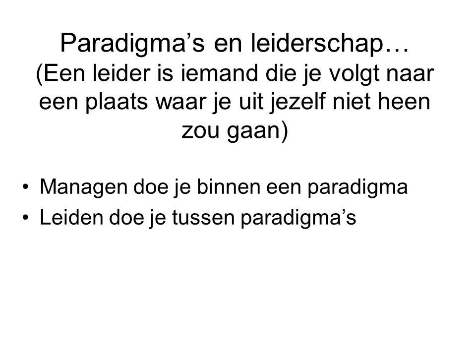 Paradigma's en leiderschap… (Een leider is iemand die je volgt naar een plaats waar je uit jezelf niet heen zou gaan)