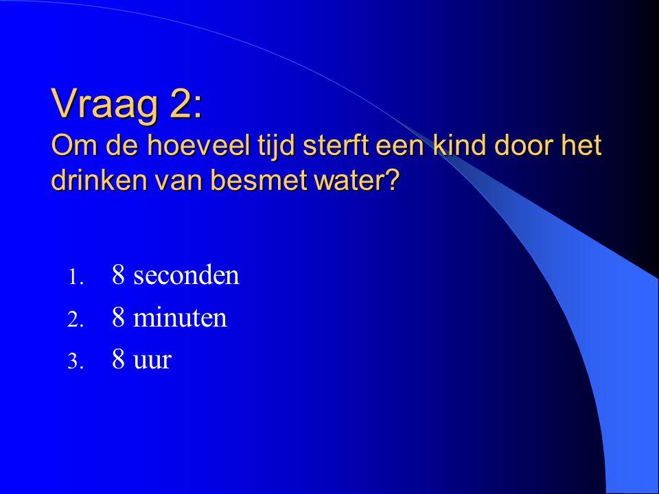 Vraag 2: Om de hoeveel tijd sterft een kind door het drinken van besmet water
