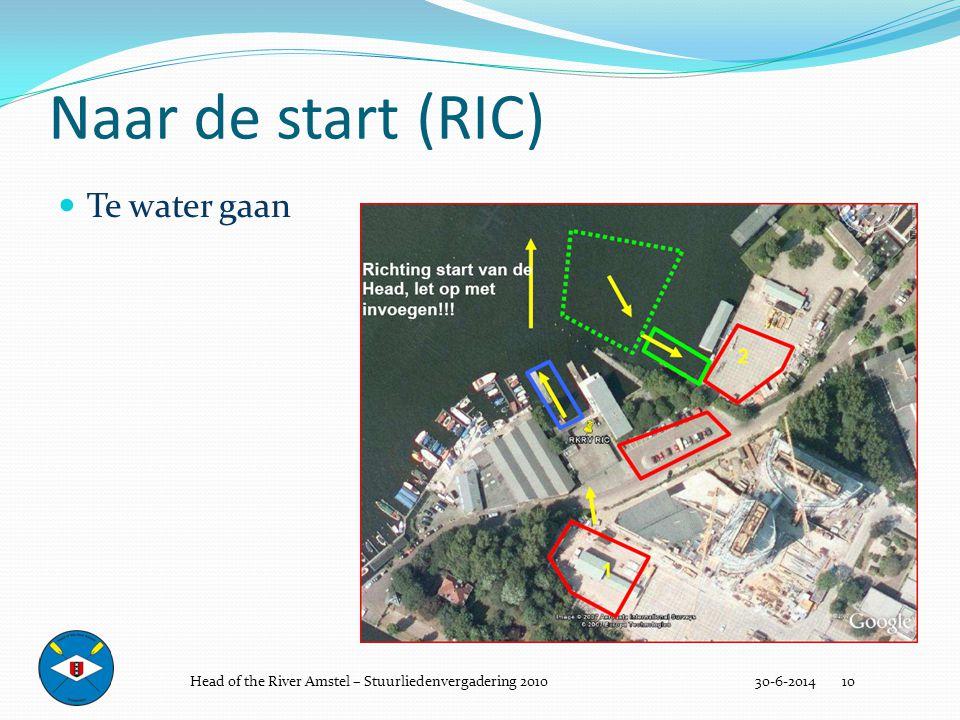Naar de start (RIC) Te water gaan