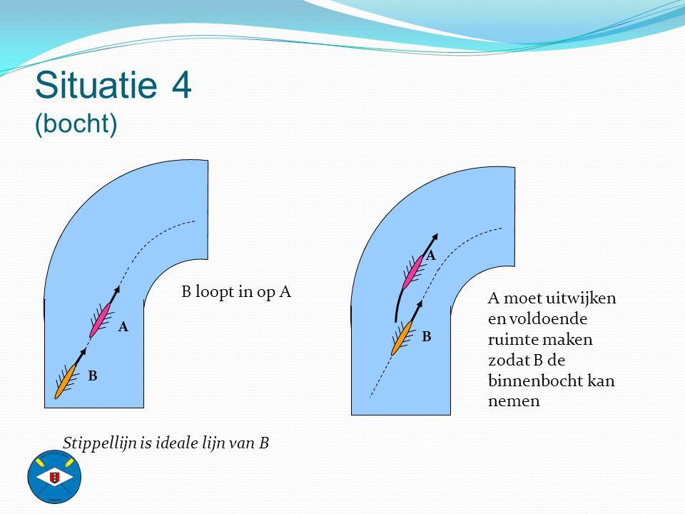Situatie 4 (bocht) B loopt in op A
