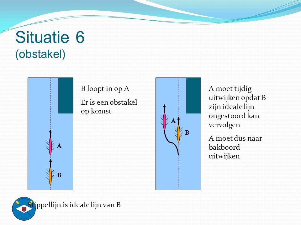 Situatie 6 (obstakel) B loopt in op A Er is een obstakel op komst