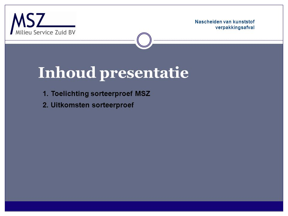 Inhoud presentatie 1. Toelichting sorteerproef MSZ