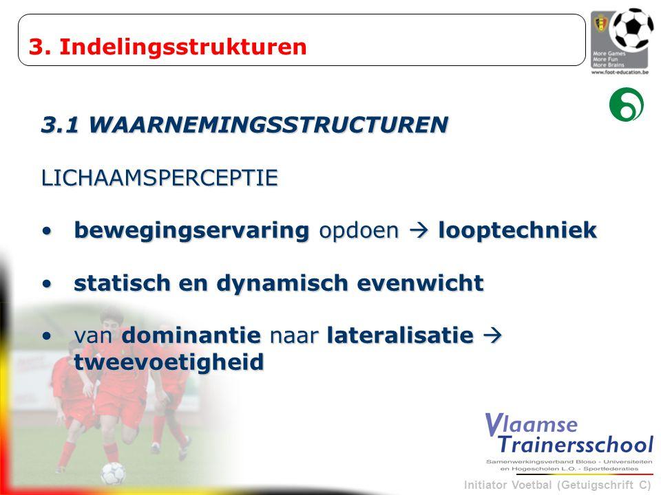 3. Indelingsstrukturen 3.1 WAARNEMINGSSTRUCTUREN. LICHAAMSPERCEPTIE. bewegingservaring opdoen  looptechniek.