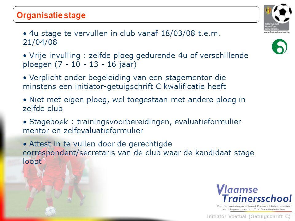 Organisatie stage 4u stage te vervullen in club vanaf 18/03/08 t.e.m. 21/04/08.
