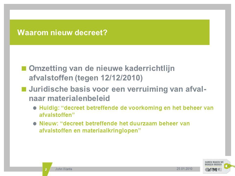 Omzetting van de nieuwe kaderrichtlijn afvalstoffen (tegen 12/12/2010)