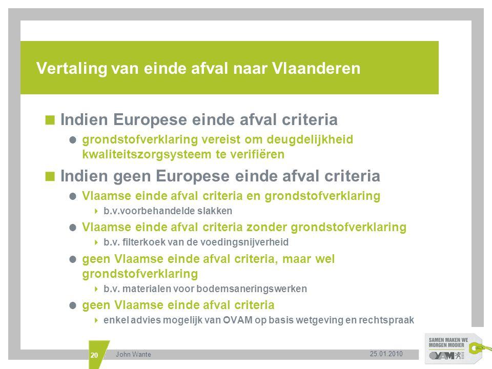 Vertaling van einde afval naar Vlaanderen