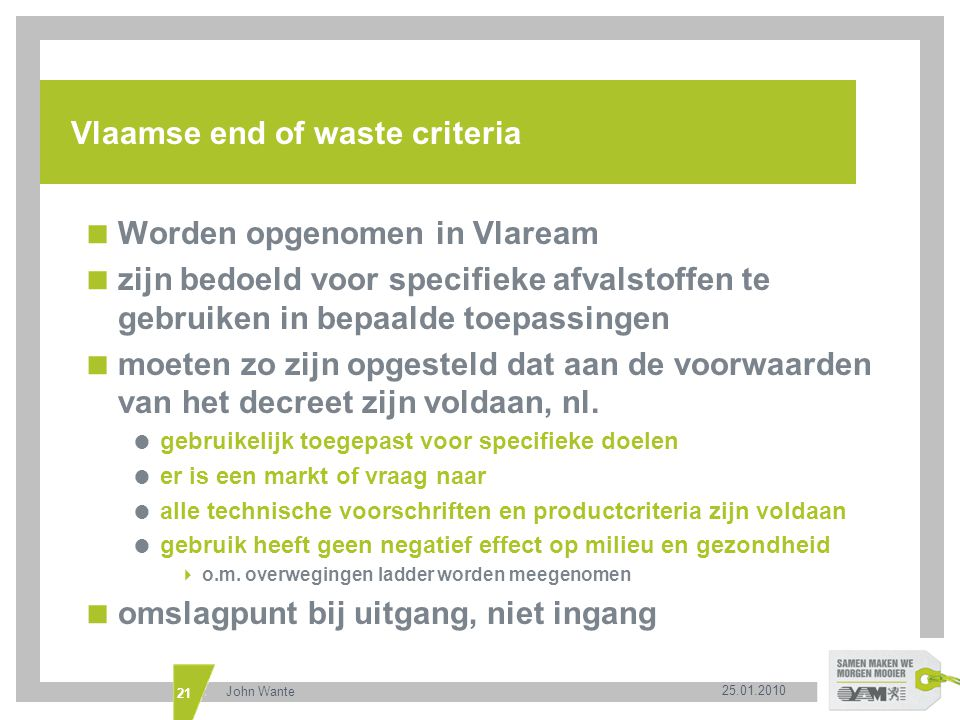 Vlaamse end of waste criteria