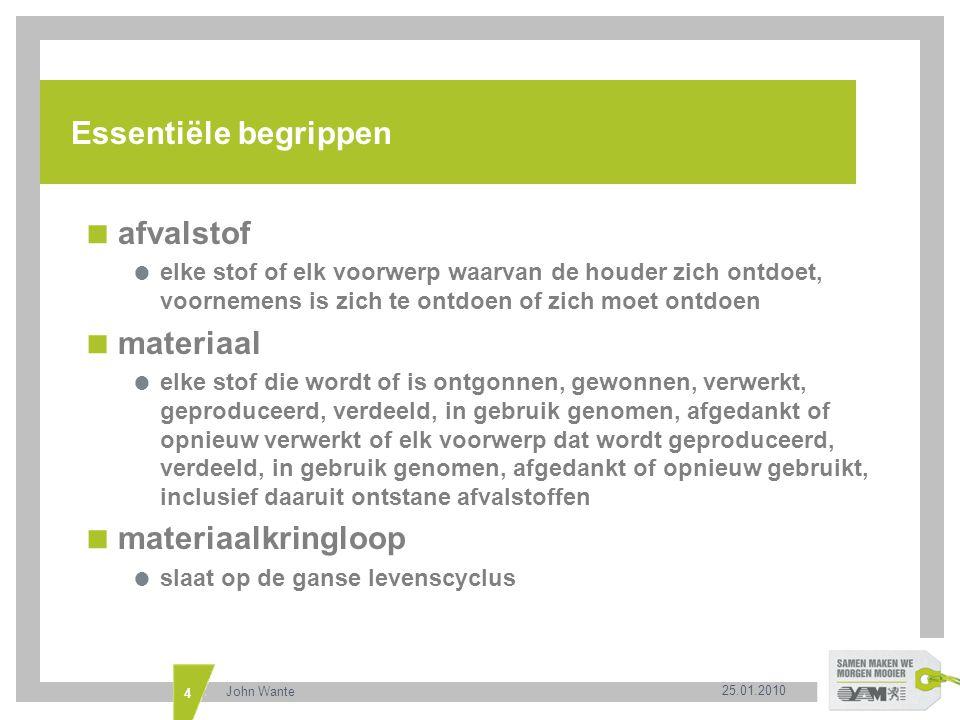 Essentiële begrippen afvalstof materiaal materiaalkringloop