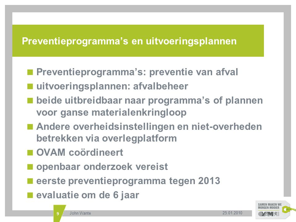 Preventieprogramma's en uitvoeringsplannen