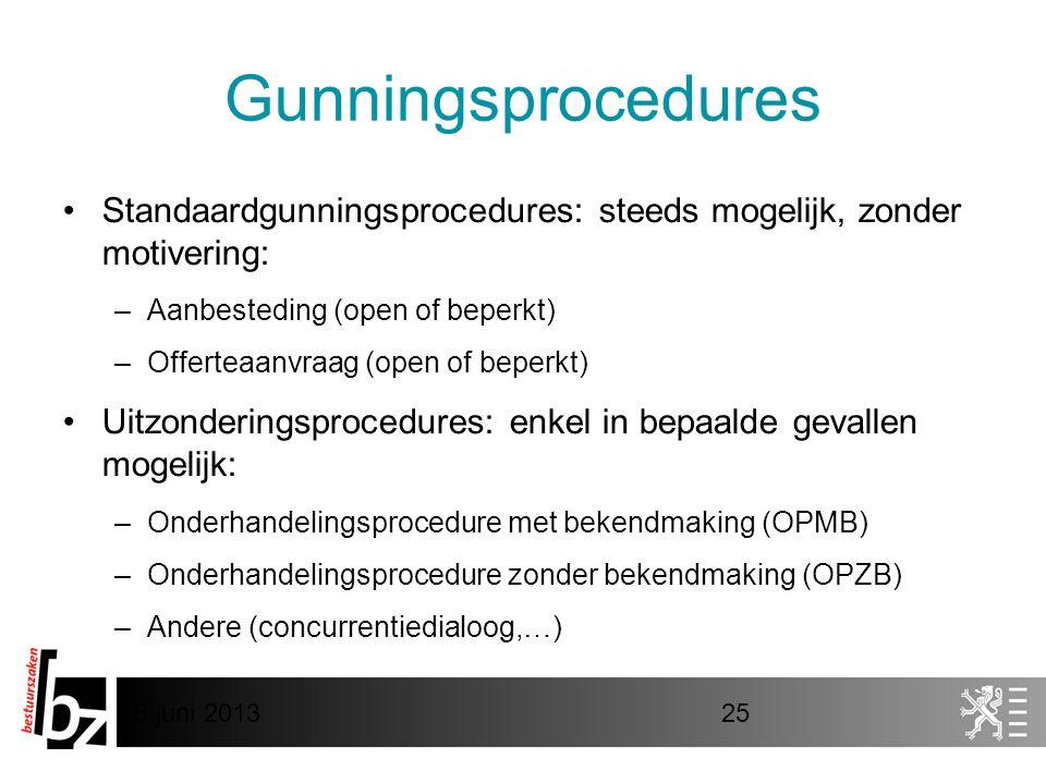 Gunningsprocedures Standaardgunningsprocedures: steeds mogelijk, zonder motivering: Aanbesteding (open of beperkt)