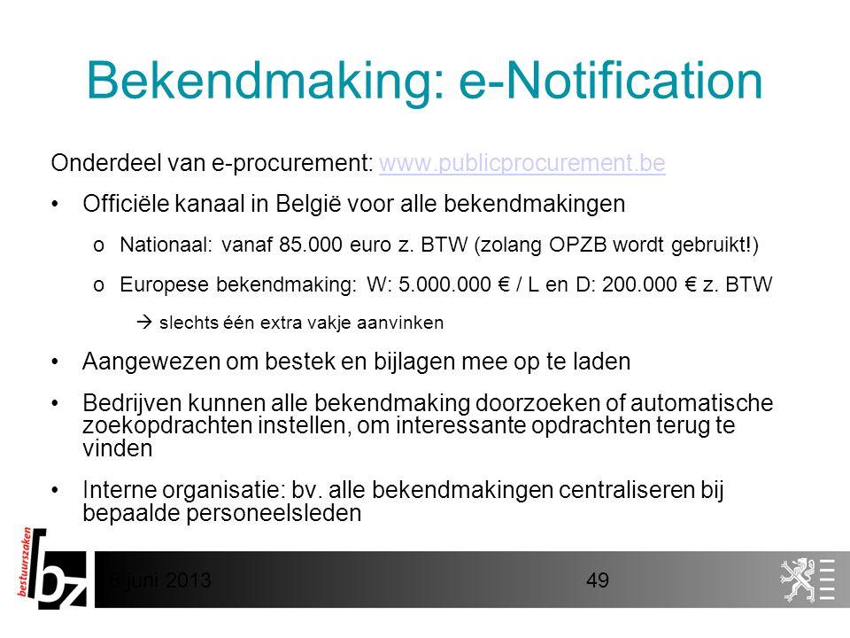 Bekendmaking: e-Notification