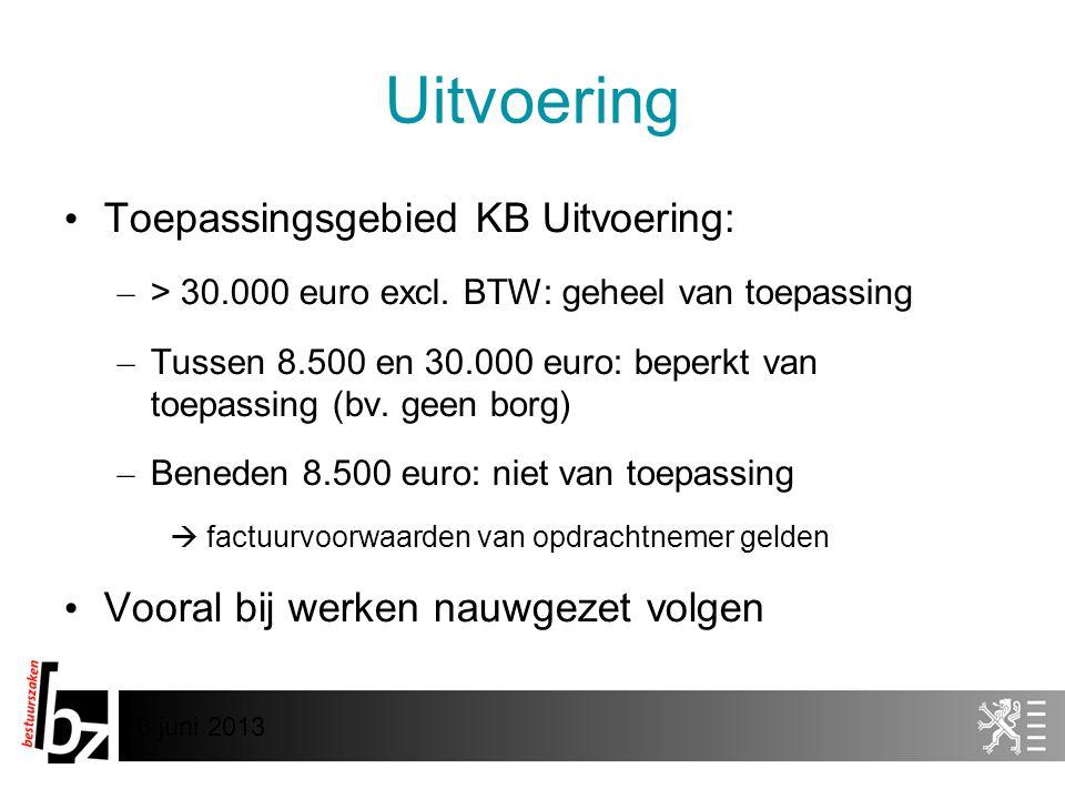 Uitvoering Toepassingsgebied KB Uitvoering: