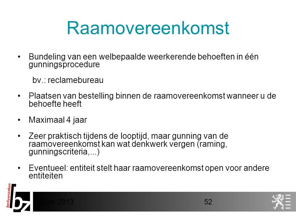 Raamovereenkomst Bundeling van een welbepaalde weerkerende behoeften in één gunningsprocedure. bv.: reclamebureau.