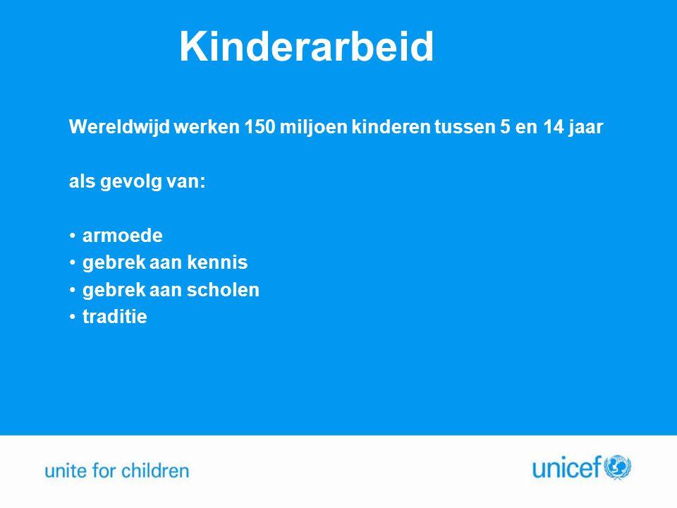 Kinderarbeid Wereldwijd werken 150 miljoen kinderen tussen 5 en 14 jaar. als gevolg van: armoede.