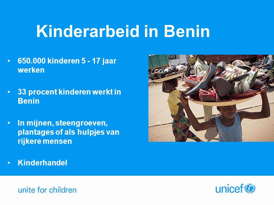 Kinderarbeid in Benin 650.000 kinderen 5 - 17 jaar werken