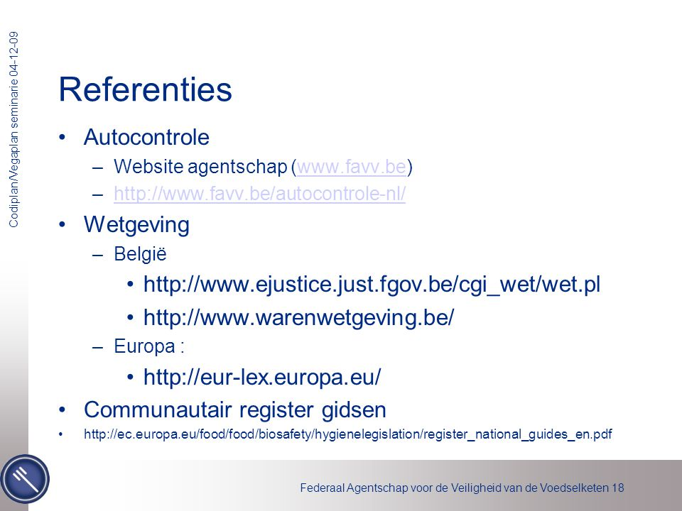 Referenties Autocontrole Wetgeving