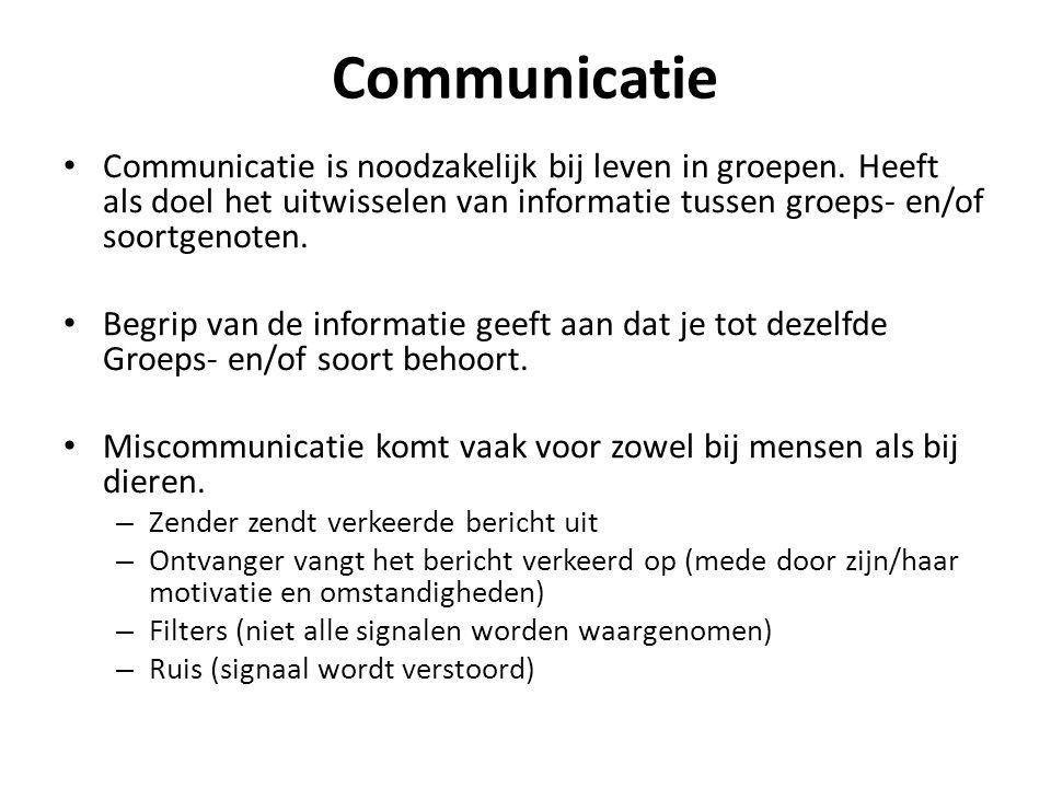 Communicatie Communicatie is noodzakelijk bij leven in groepen. Heeft als doel het uitwisselen van informatie tussen groeps- en/of soortgenoten.