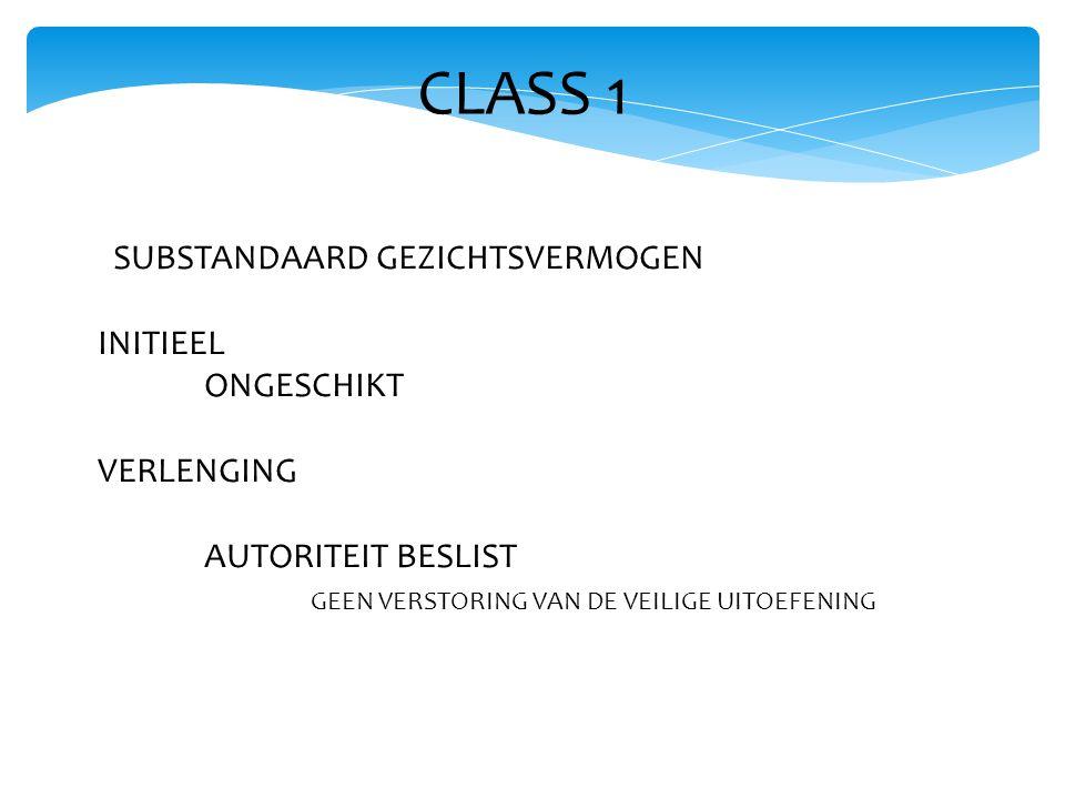 CLASS 1 SUBSTANDAARD GEZICHTSVERMOGEN INITIEEL ONGESCHIKT VERLENGING