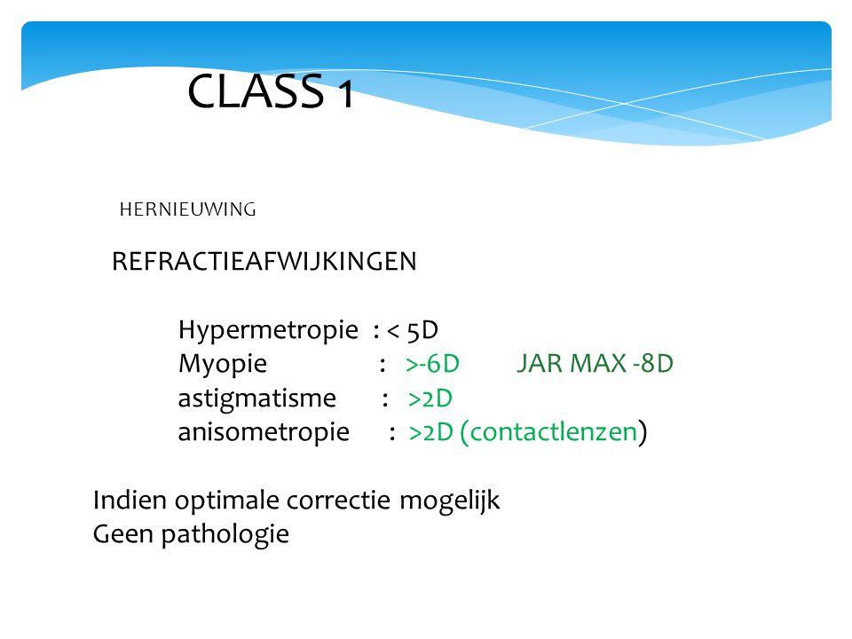 CLASS 1 REFRACTIEAFWIJKINGEN Hypermetropie : < 5D