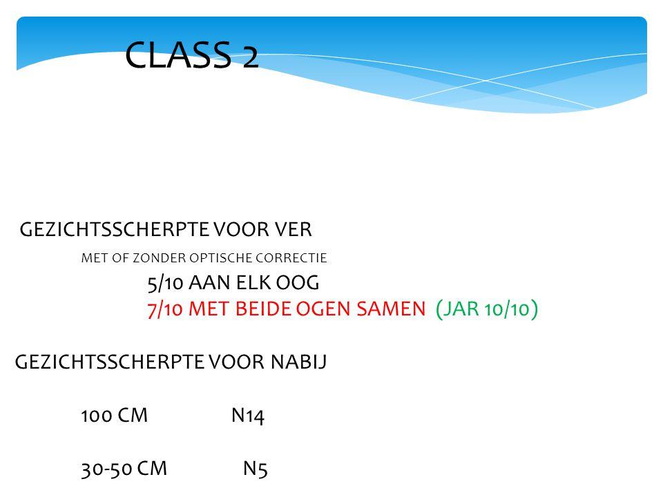 CLASS 2 GEZICHTSSCHERPTE VOOR VER MET OF ZONDER OPTISCHE CORRECTIE