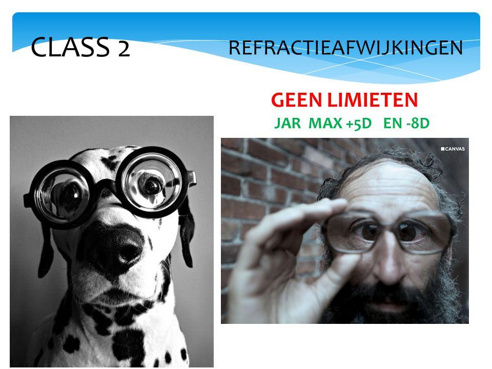 CLASS 2 REFRACTIEAFWIJKINGEN GEEN LIMIETEN JAR MAX +5D EN -8D