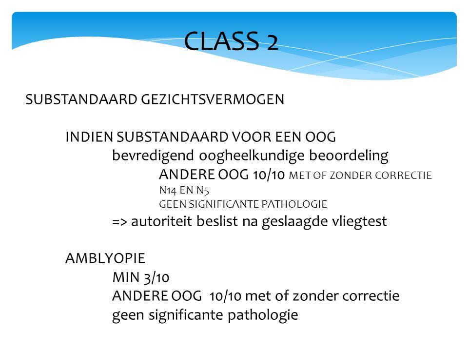 CLASS 2 SUBSTANDAARD GEZICHTSVERMOGEN INDIEN SUBSTANDAARD VOOR EEN OOG