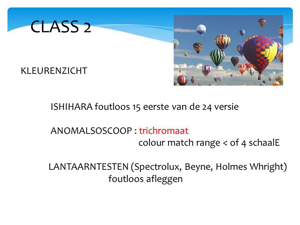 CLASS 2 KLEURENZICHT ISHIHARA foutloos 15 eerste van de 24 versie