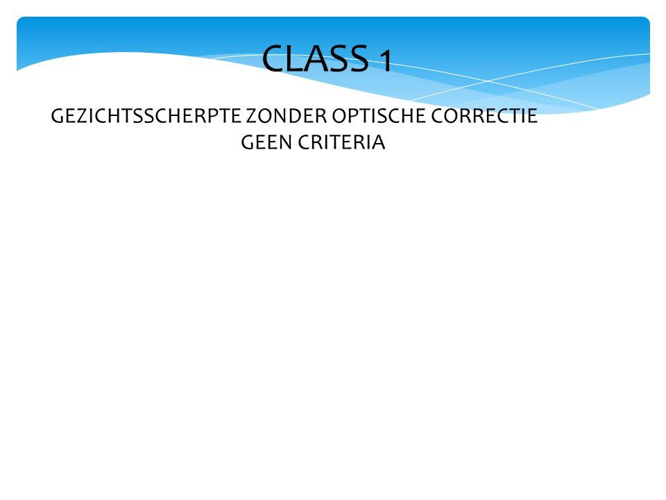 CLASS 1 GEZICHTSSCHERPTE ZONDER OPTISCHE CORRECTIE GEEN CRITERIA