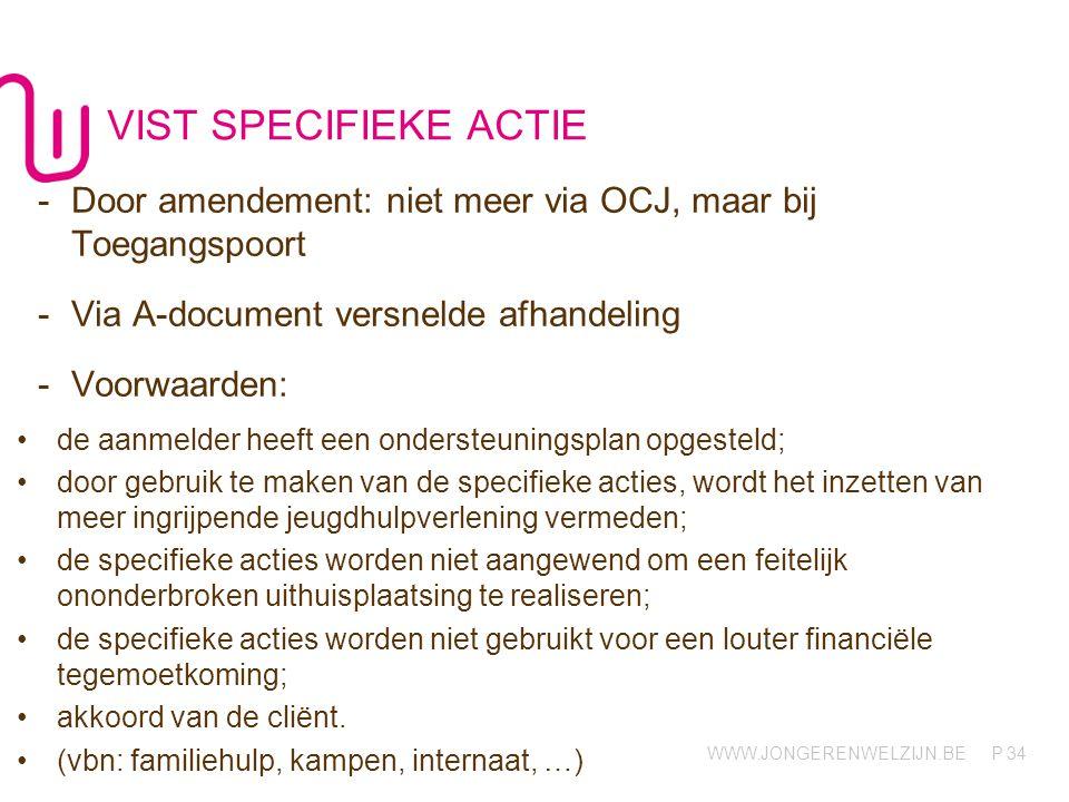 VIST SPECIFIEKE ACTIE Door amendement: niet meer via OCJ, maar bij Toegangspoort. Via A-document versnelde afhandeling.