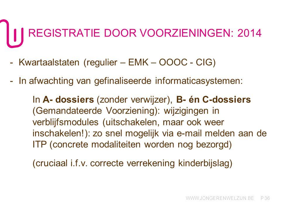REGISTRATIE DOOR VOORZIENINGEN: 2014