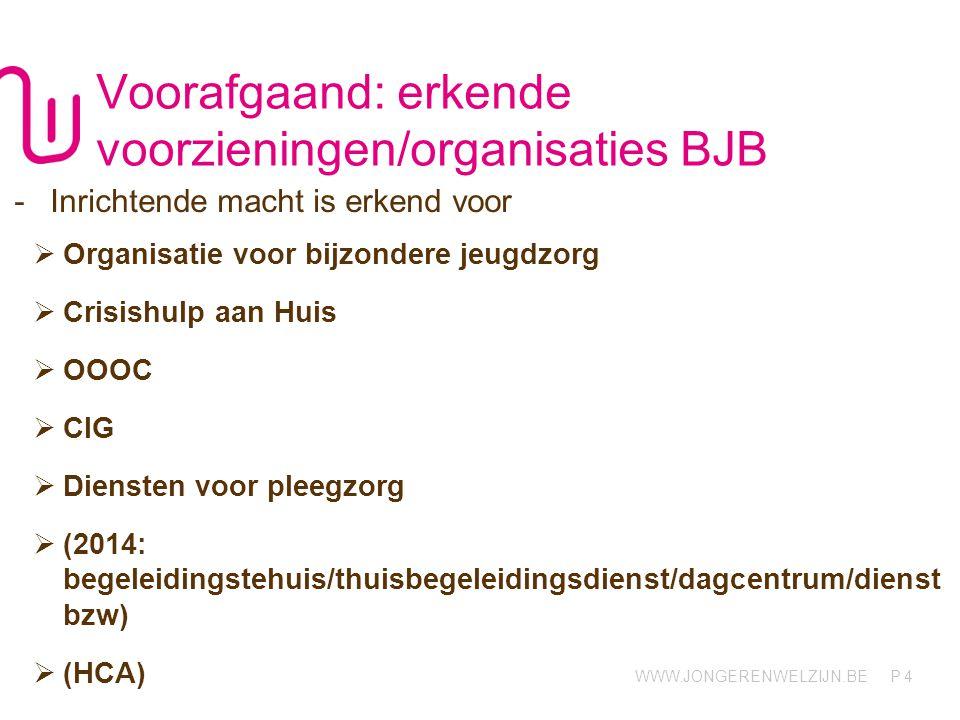 Voorafgaand: erkende voorzieningen/organisaties BJB
