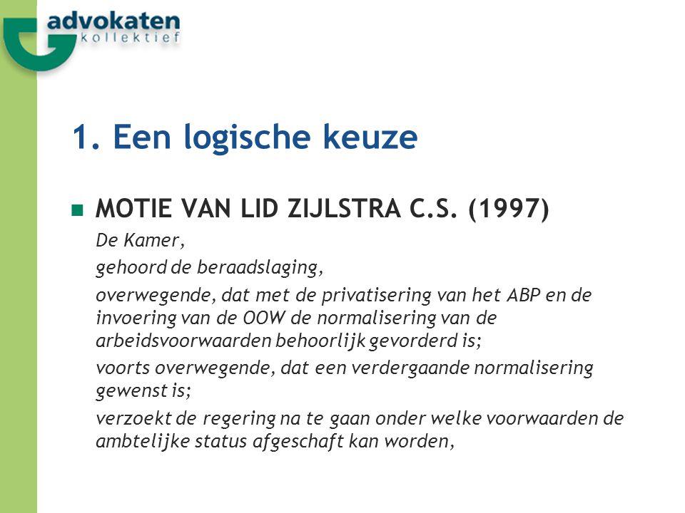 1. Een logische keuze MOTIE VAN LID ZIJLSTRA C.S. (1997) De Kamer,