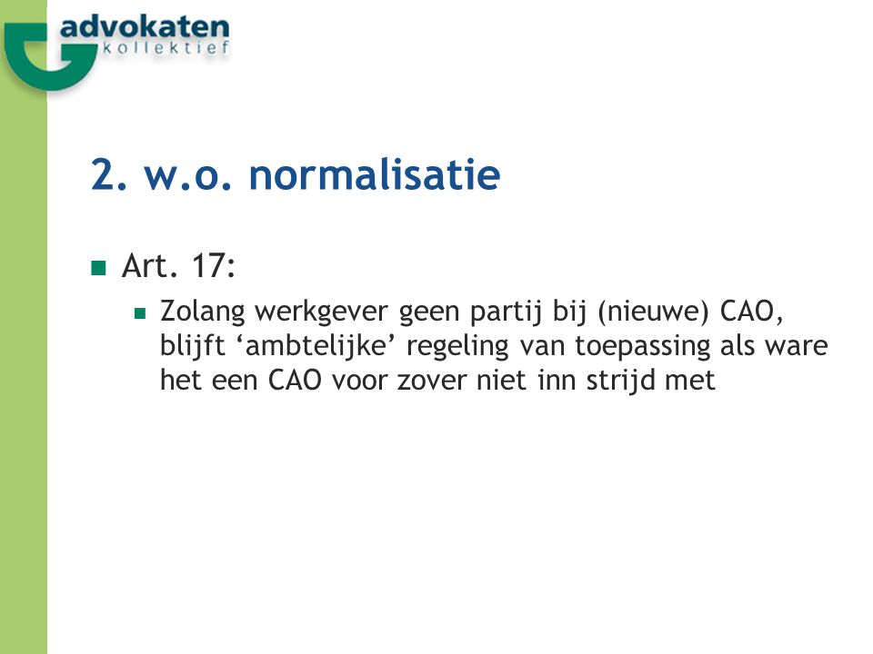 2. w.o. normalisatie Art. 17: